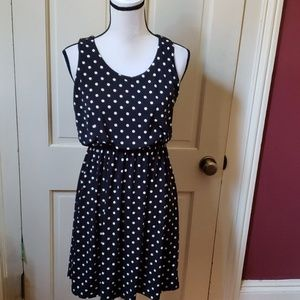 Gilli black & white polka dot mini dress S